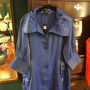Beautiful brand new blue silk coat from the estate